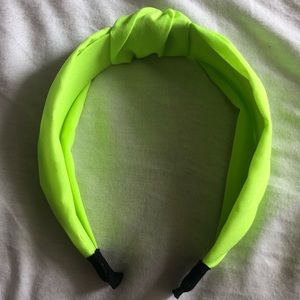Neon yellow knotted headband